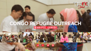 collage of congo refugees smiling with goods from INCGiving volunteers