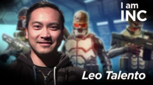 Man smiling with video game characters behind him with text overlay I am INC, Leo Talento.