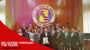 Group photo of a few members of the Church of Christ with the city and county of Honolulu members with overlay text INCGiving Through The Years