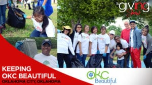 Collage of Volunteers smiling and cleaning up with overlay text Keeping OKC Beautiful.