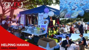 Collage of booth with donations and volunteers giving goods to community