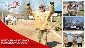 Park lead foreman with hands in the air with excitement and collage of the park being fixed with overlay text Partnering to Make Playgrounds Safe