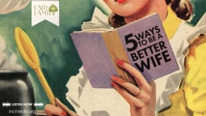 """cartoon of woman reading a book titled '5 ways to be a better wife"""""""