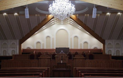Interior shot of the Regina house of worship from the back.