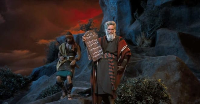 Charlton Heston playing Moses in the Ten Commandments movie