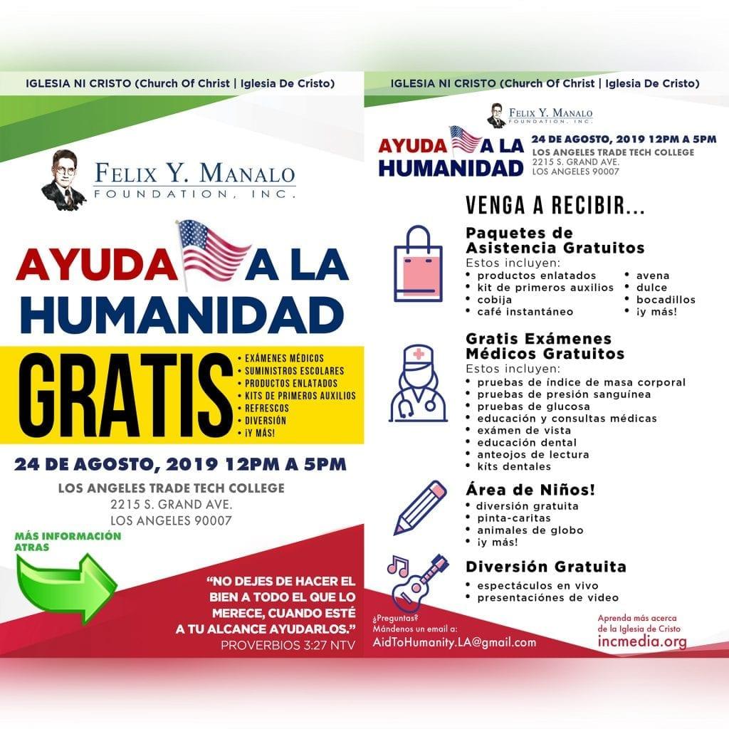 Ayuda a La Humanidad con servicios y paquetes de asistencia gratuitos en Los Angeles Aug 24, desde La Felix Y Manalo Foundation y La Iglesia De Cristo.
