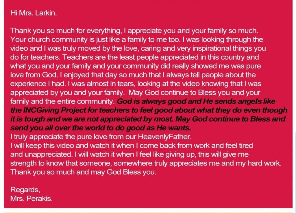 Note from teacher appreciation day written by mrs. perakis
