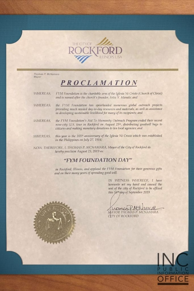 "Certificate of Proclamation announcing ""FYM Foundation Day"" given by the City of Rockford"