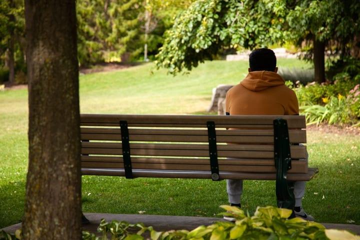 Man sitting on a park bench